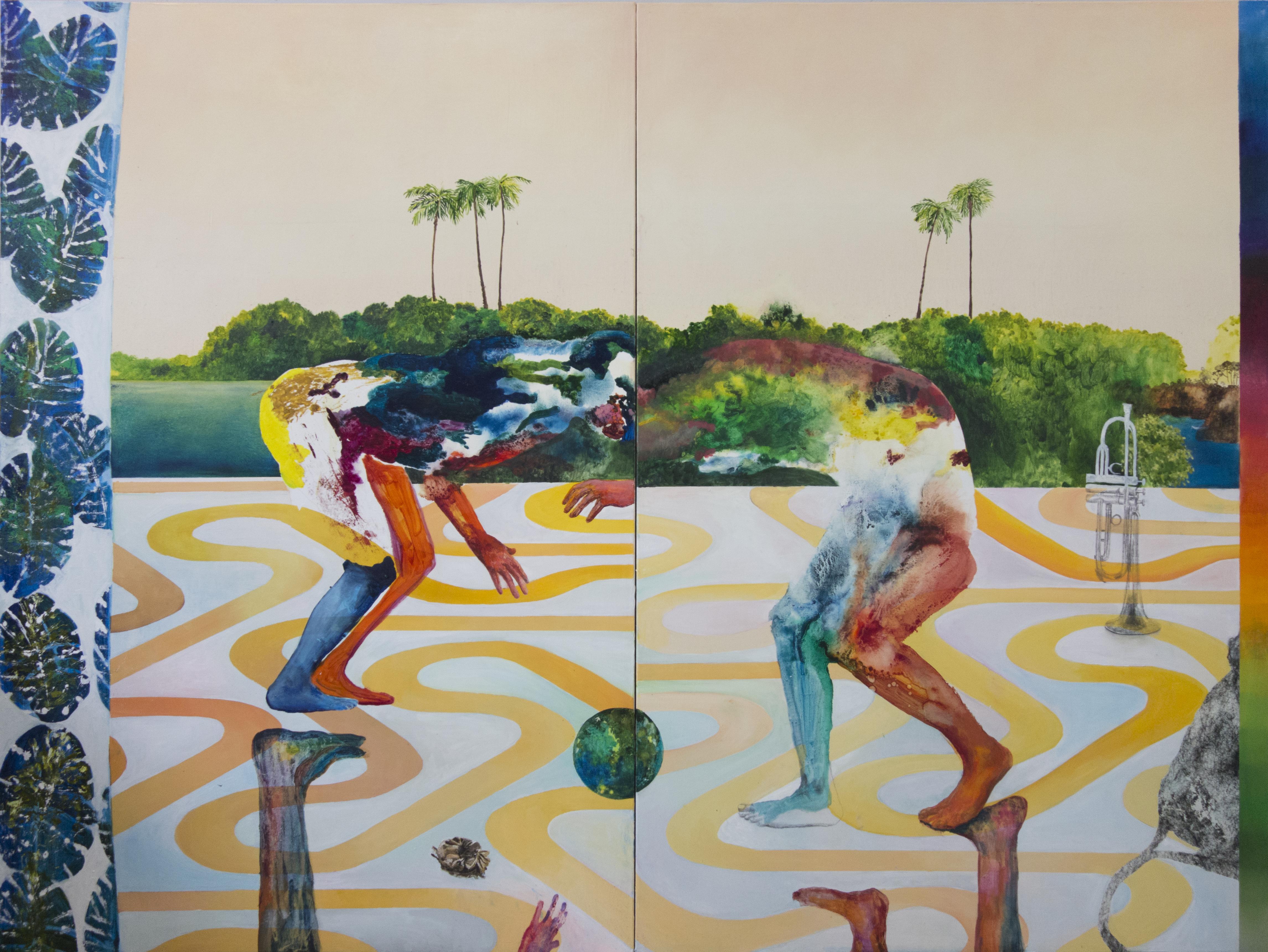 La Lutte amoureuse (2016). Huile et graphite sur toile. Diptyque de 180 x 240 cm (2 x 180 x 120 cm).