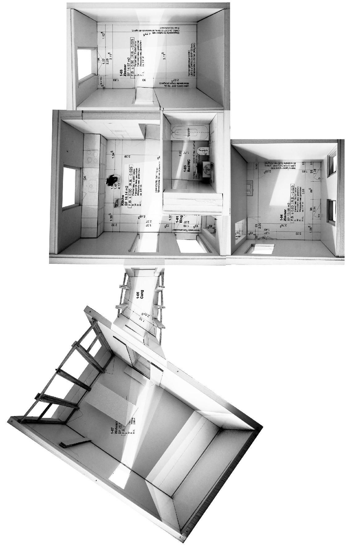 Maquette duprojet d'extension d'une maison résidentielle par Simon Kretz à Zurich.