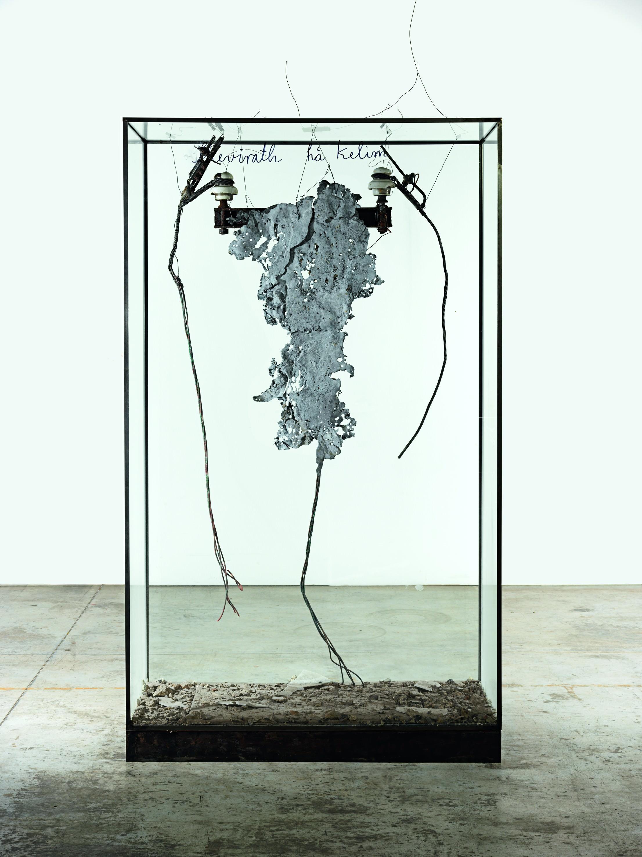 Shevirath ha Kelim [La Brisure des vases](2015), verre, métal, plomb, céramique, cendres et encre, 210 x 121 x 50,5 cm. Collection particulière Photo : © Georges Poncet