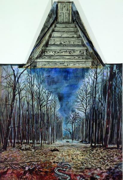 Resurrexit(1973), huile, acrylique et fusain sur toile de jute, 290 x 180 cm. Sanders Collection, Amsterdam © Atelier Anselm Kiefer
