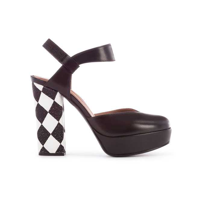 Printed and quilted leather heels, EMPORIO ARMANI.