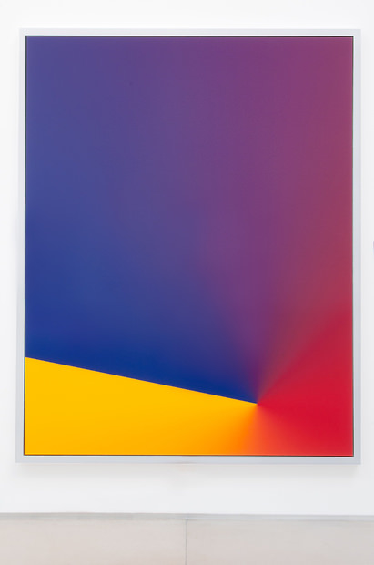 """Cory Arcangel, 2010 Photoshop CS: 84 by 66 inches, 300 DPI, RGB, square pixels, default gradient """"Blue, Red, Yellow"""", mousedown y=22100 x=14050, mouseup y=19700 x=1800 C-Print. From:Galerie Thaddaeus Ropac. Tarek Issaoui's personal collection."""