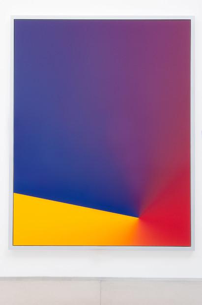 """Cory Arcangel, 2010 Photoshop CS: 84 by 66 inches, 300 DPI, RGB, square pixels, default gradient """"Blue, Red, Yellow"""", mousedown y=22100 x=14050, mouseup y=19700 x=1800 C-Print. Provenance:Galerie Thaddaeus Ropac. Œuvre de la collection personnelle de Tarek Issaoui."""