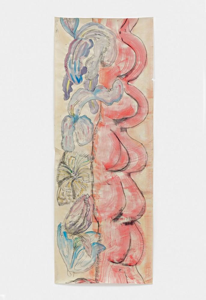 Loose Bodies (2013) de Matthew Lutz-Kinoy, tempera et fusain sur papier journal, 265 x 99 cm. Courtesy of Freedman Fitzpatrick. Collection of Pierpaolo Barzan