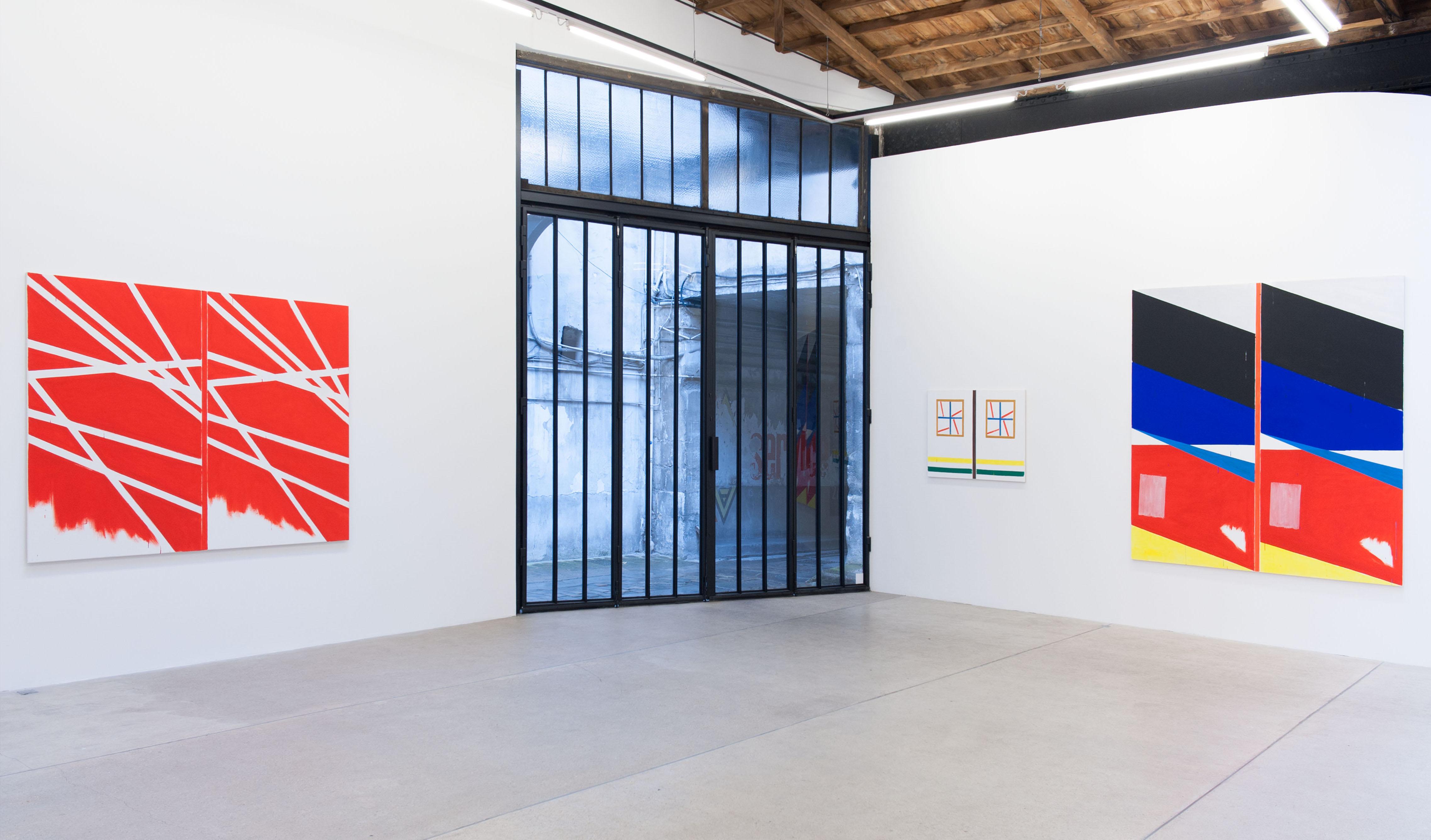 Bernard Piffaretti, vue de l'expositionPassage (à la ligne)[2016], Galerie Frank Elbaz, Paris. Photo : Raphael Fanelli.