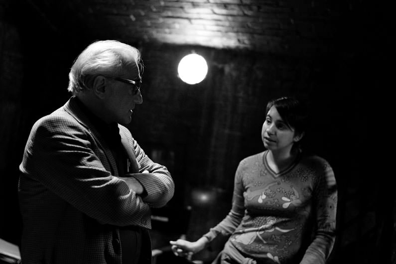 Celina Murga and Martin Scorsese on the set of Shutter Island during the Rolex mentoringin 2008. ©Brigitte Lacombe for Rolex