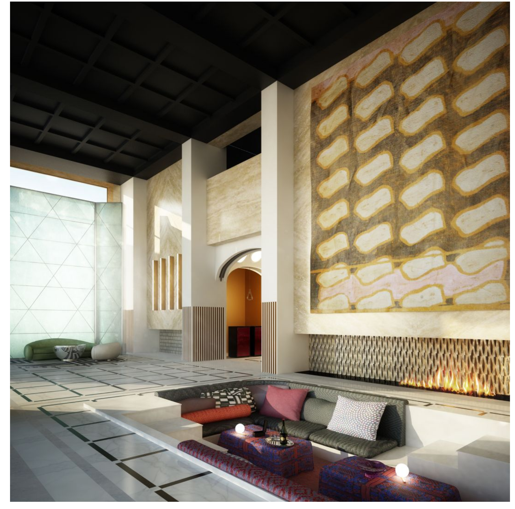 Étude d'aménagement intérieur présentée par Tristan Auer dans le cadre d'un récent projet hôtelier en Russie.