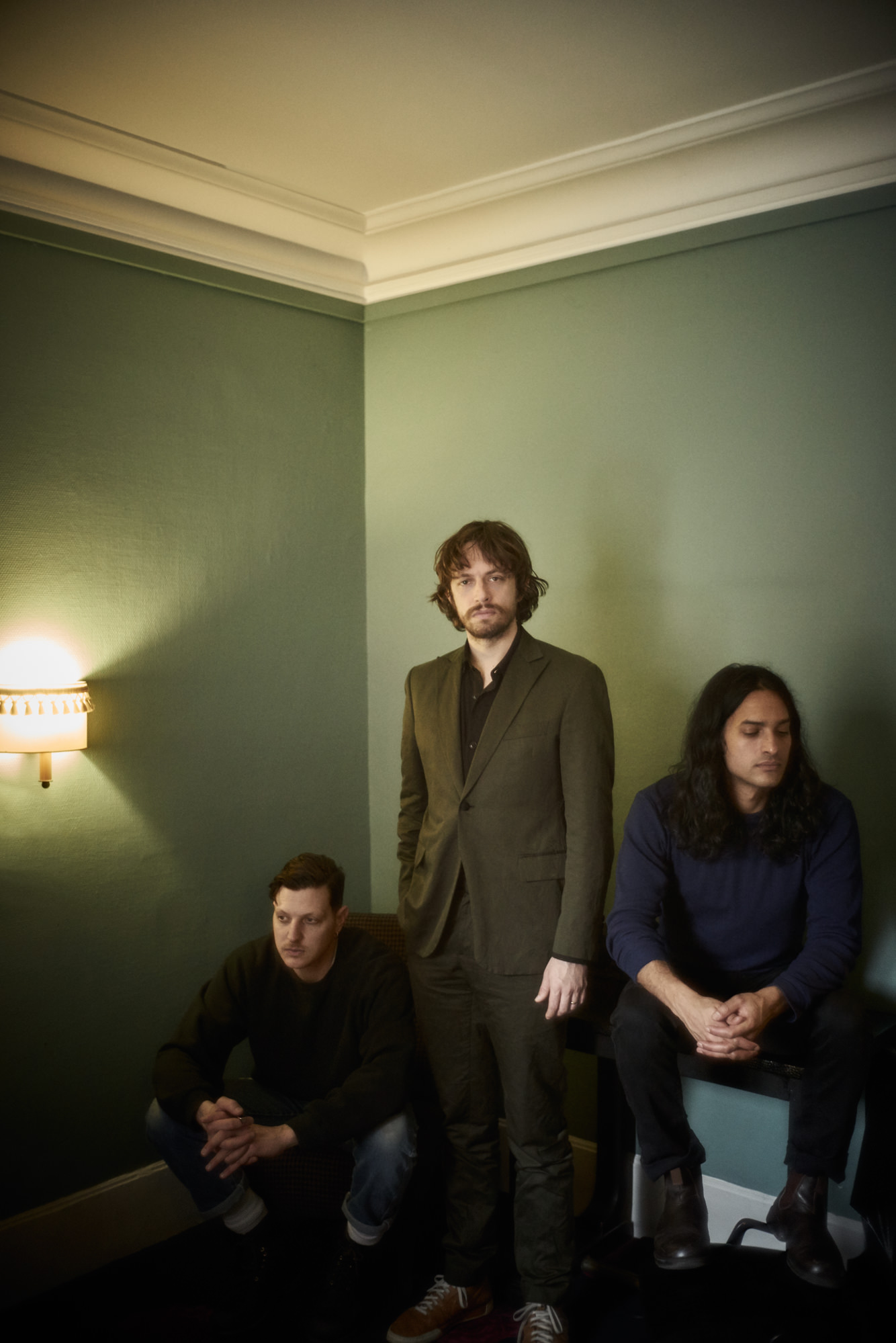 Photo : Stéphane Gallois. Members of the New York band Yeasayer, Ira Wolf Tuton, Chris Keating and Anand Wilder.