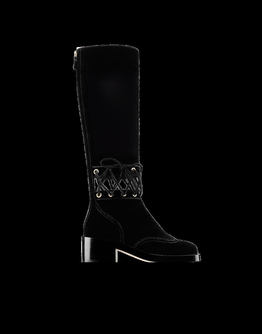 Black velvet boots, CHANEL.