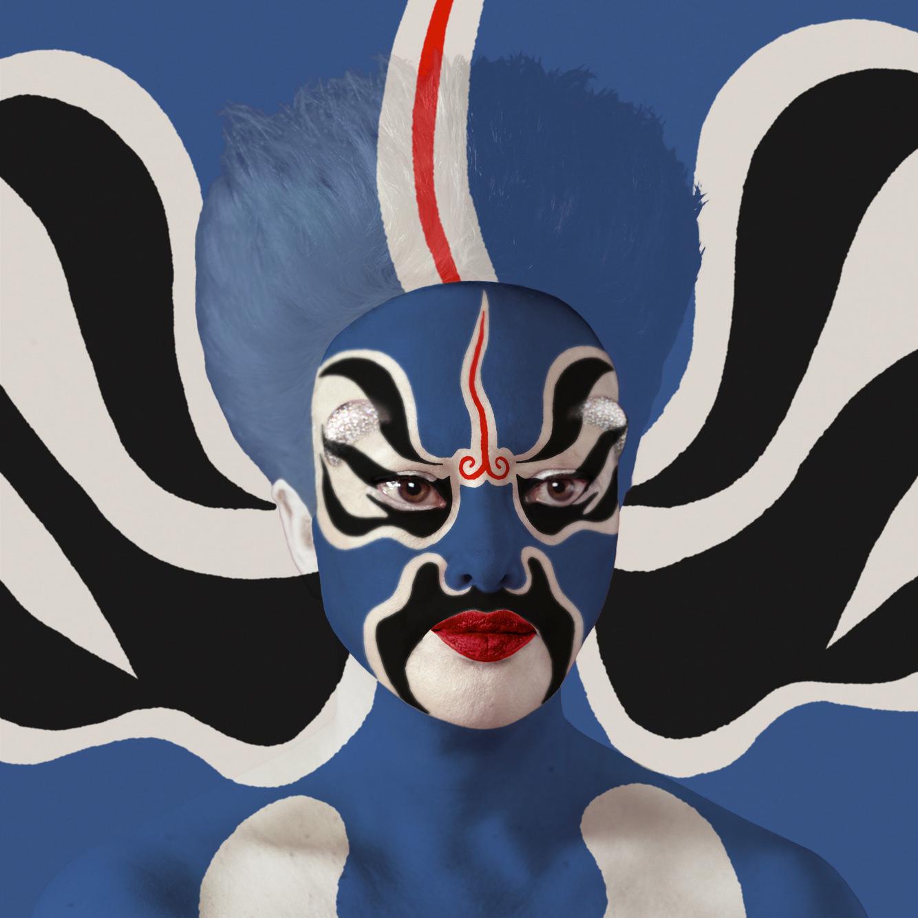 Masques Pékin Opéra, Facing Designs et réalité augmentée, Selfhybridation Opéra de Pékin n° 2,ORLAN.