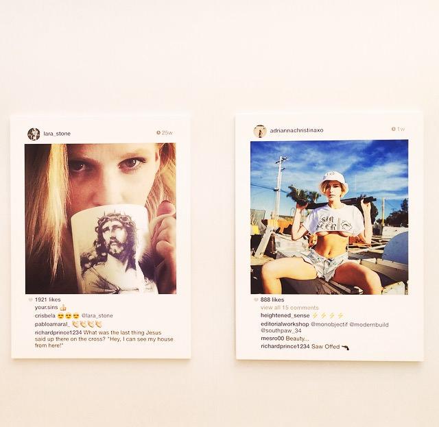 Les Instagram Paintings de Richard Prince prennent possession de l'ensemble dustand de la galerie Gagosian.