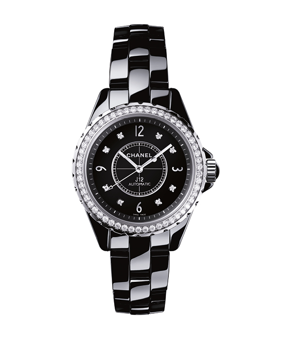 "Black high tech ceramic ""J12"" watch, set with 54 diamonds, CHANEL HORLOGERIE"