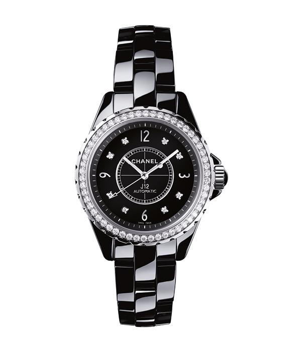 "Black high tech ceramic""J12"" watch, set with 54 diamonds, CHANEL HORLOGERIE"