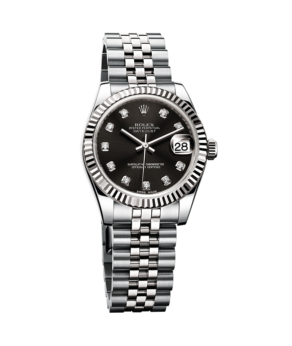 """Oyster Perpetual Datejust 36"", Grey with black dial Rolesor set with 10 diamonds, ROLEX"