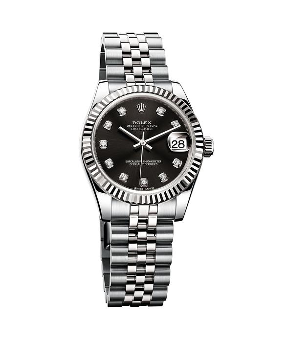 """""""Oyster Perpetual Datejust 36"""", Rolesorgris, cadran noir serti de 10 diamants sur châtons, ROLEX."""