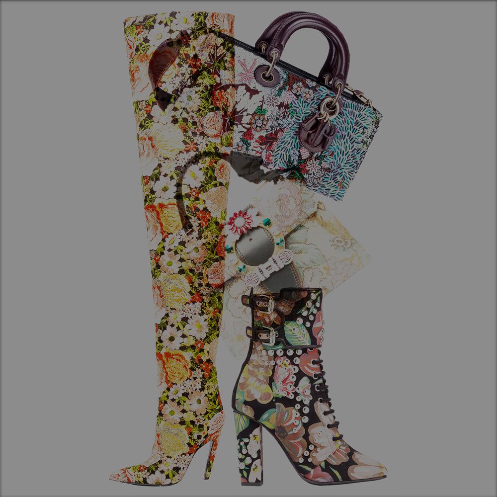 The flowery accessories from Dior, Balenciaga, Giuseppe Zanotti and Miu Miu