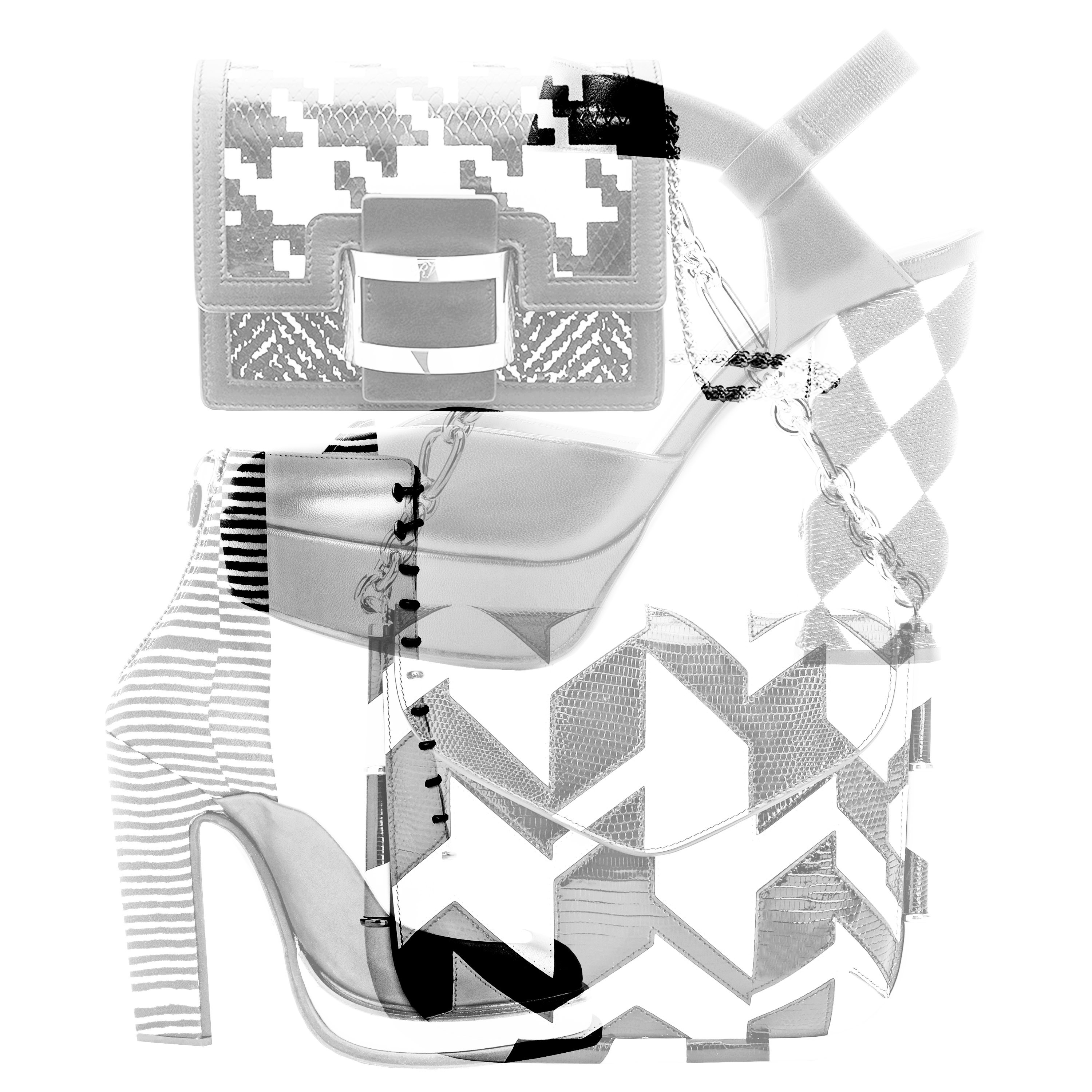 The black and white bags and shoes from Carven, Emporio Armani, Roger Vivier and Salvatore Ferragamo