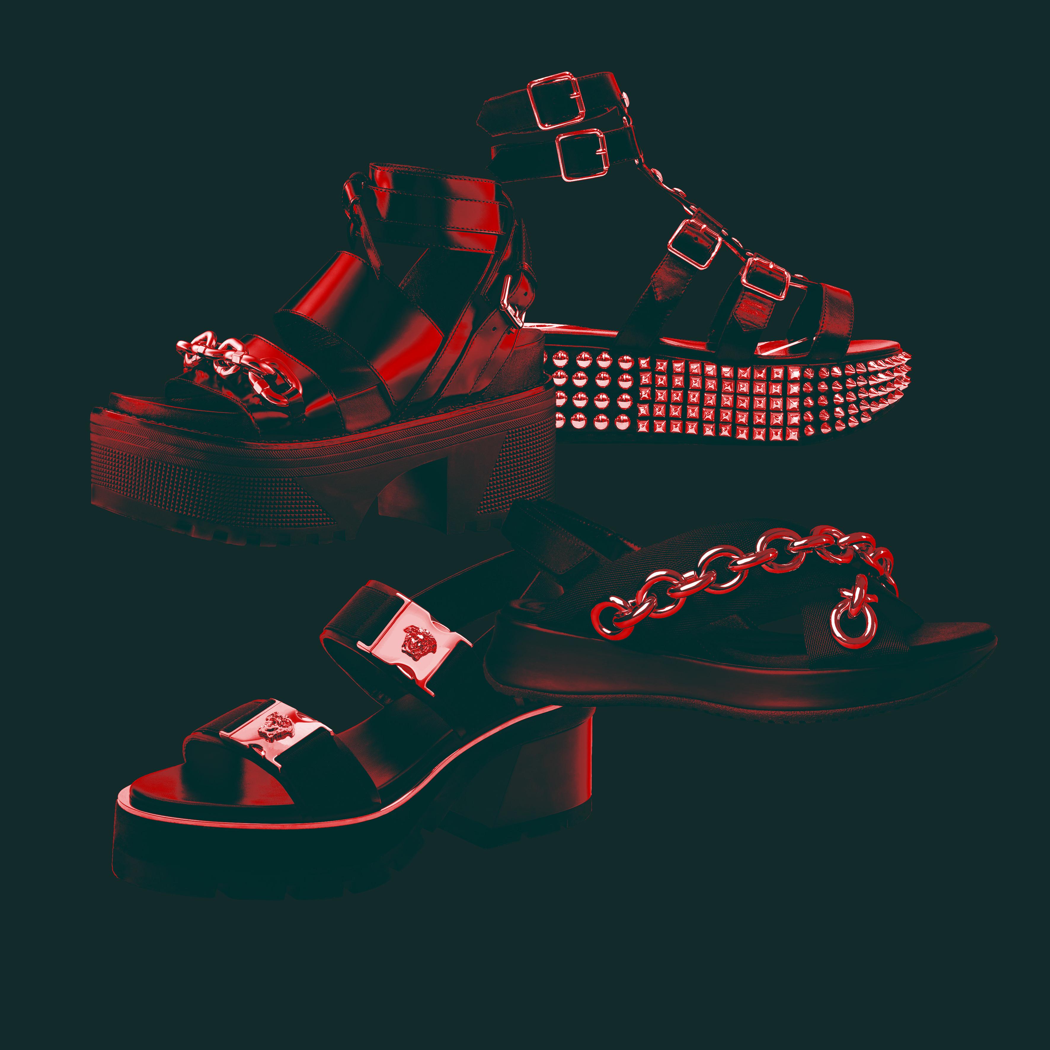 Burberry, Louis Vuitton, Philipp Plein and Versace's punk sandals