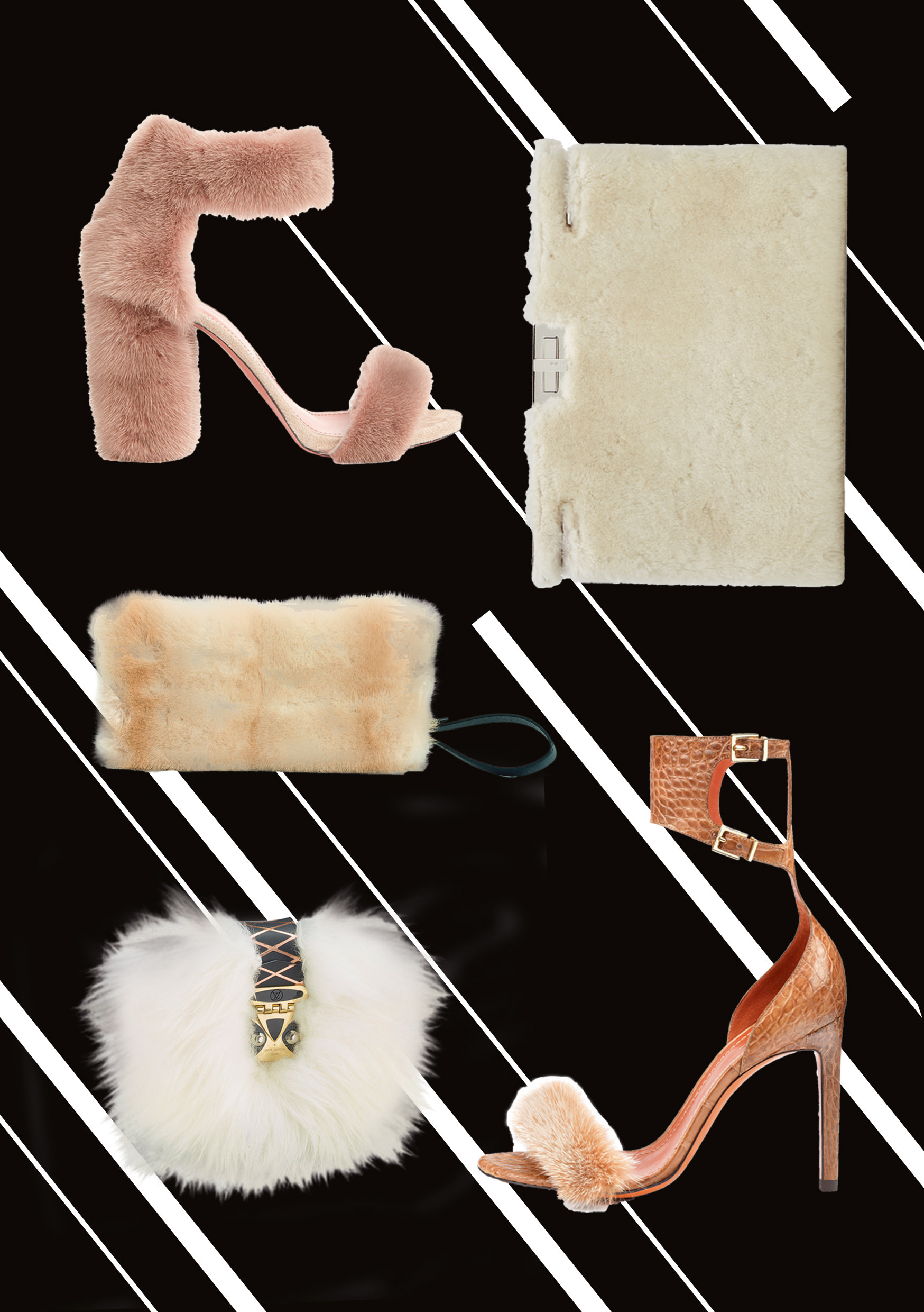 Sandals and clutches get furry