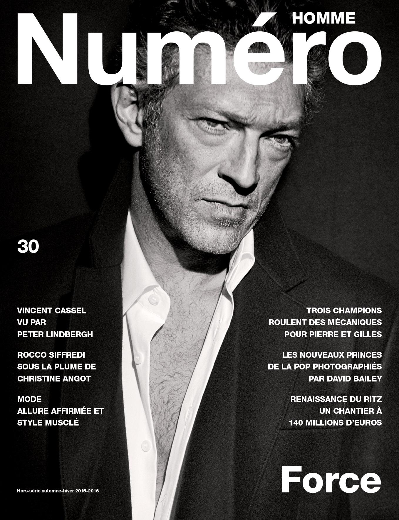 Cover story : Vincent Cassel photographié par Peter Lindbergh
