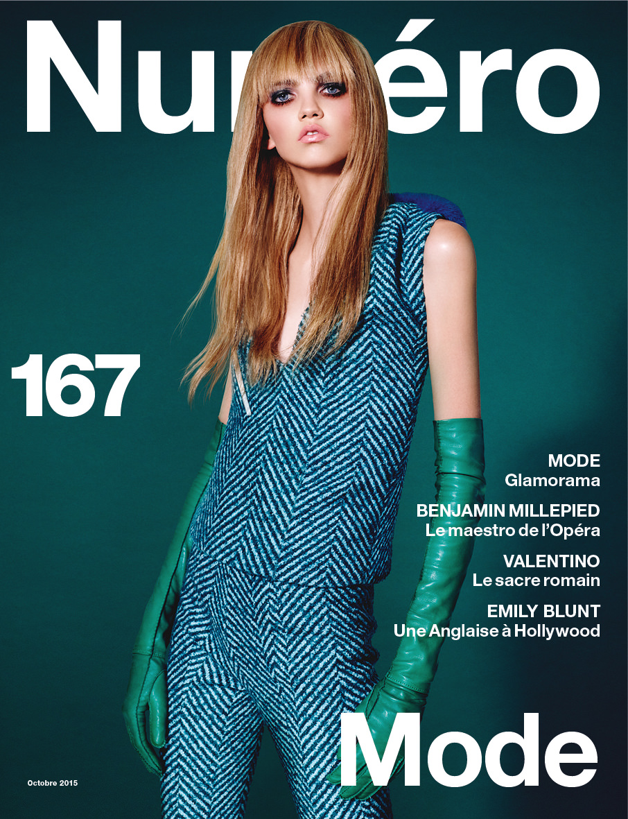 Molly Bair covers the October issue of Numero photographed by Daniel Sannwald