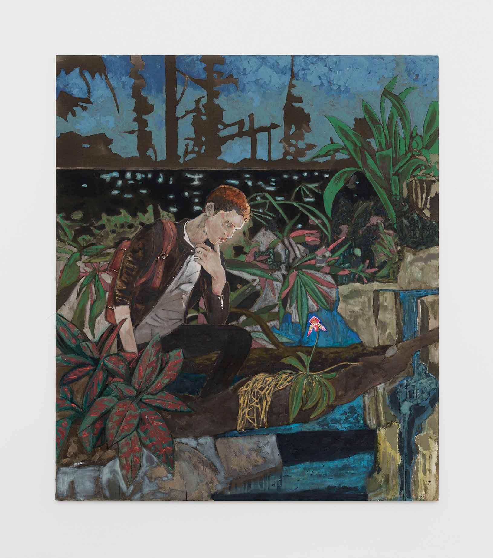Hernan Bas à la Galerie Perrotin, entre éphèbes rêveurs et fleurs dévoilées