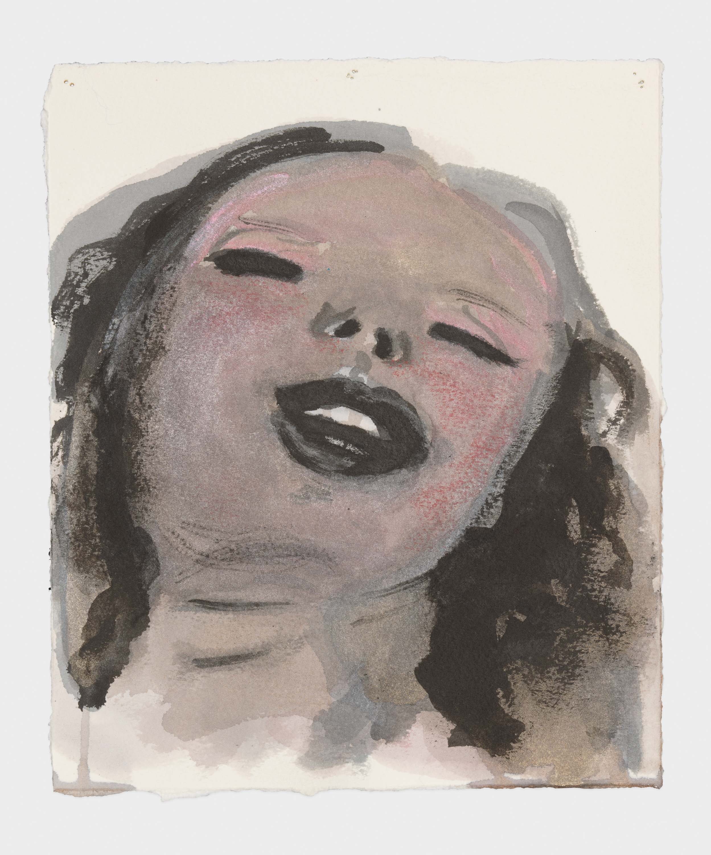 "Marlene Dumas, ""Venus praises the pleasures of love"", 2015-2016 Ink wash and metallic acrylic on paper 9 1/4 x 8 inches 23.5 x 20.3 cm. Exposition ""Myths & Mortals"", Galerie David Zwirner, New-York"