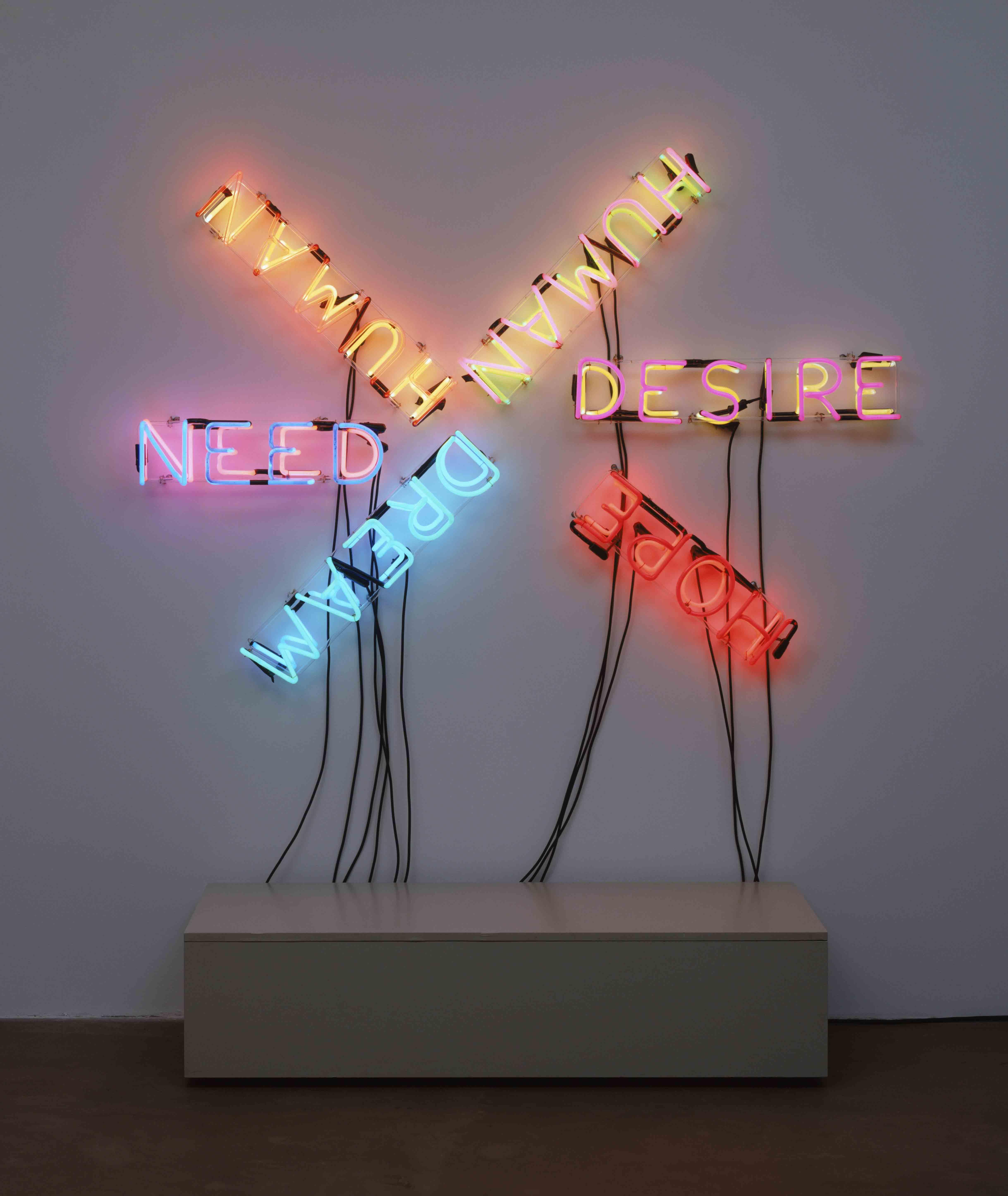 "Bruce Nauman, ""Human/Need/Desire"" (""Humain/Besoin/ Désir"") (1983)."
