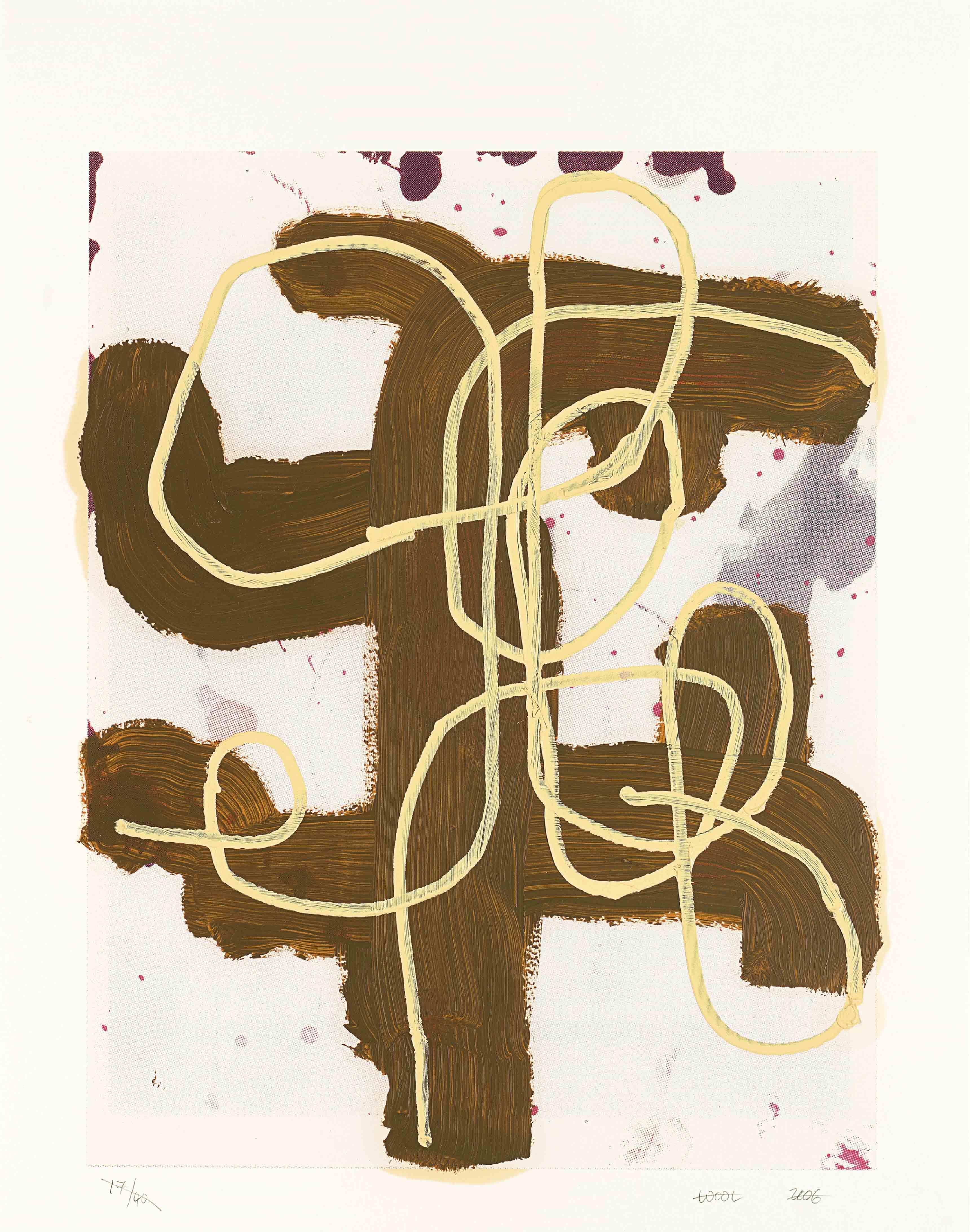 """Lot 7. Christopher Wool (né en 1955), """"Sans titre"""", signé et daté 'Wool 2016' (en bas), huile et sérigraphie sur papier. 76.2 x 55.9 cm. Réalisée en 2016, cette œuvre est unique. Estimation : €100,000–150,000 ($130,000–180,000)."""