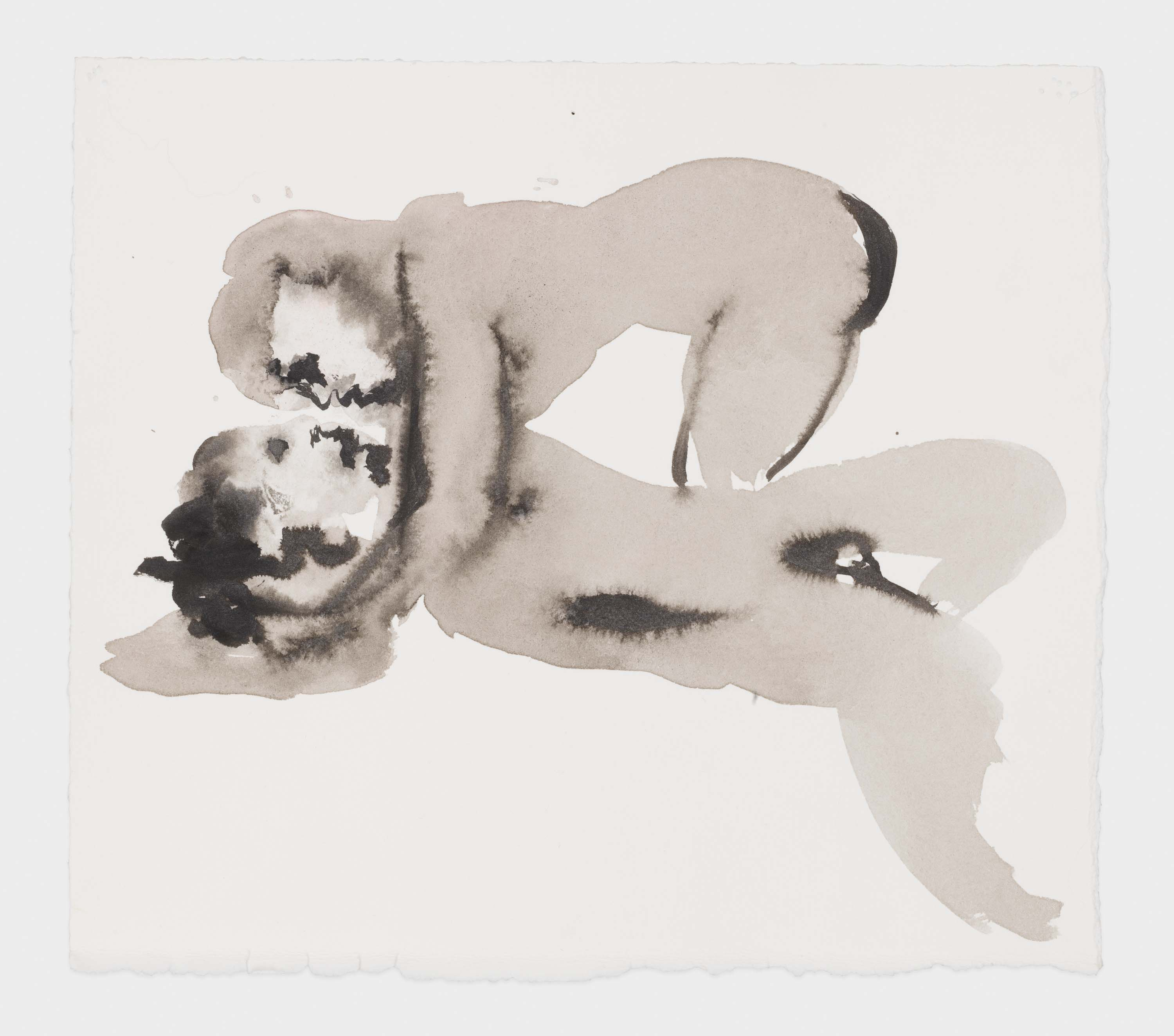 """Marlene Dumas, """"Venus with Body of Adonis"""", 2015-2016, Ink wash and metallic acrylic on paper 10 1/4 x 11 3/8 inches 26.0 x 28.9 cm. Exposition """"Myths & Mortals"""", Galerie David Zwirner, New-York"""