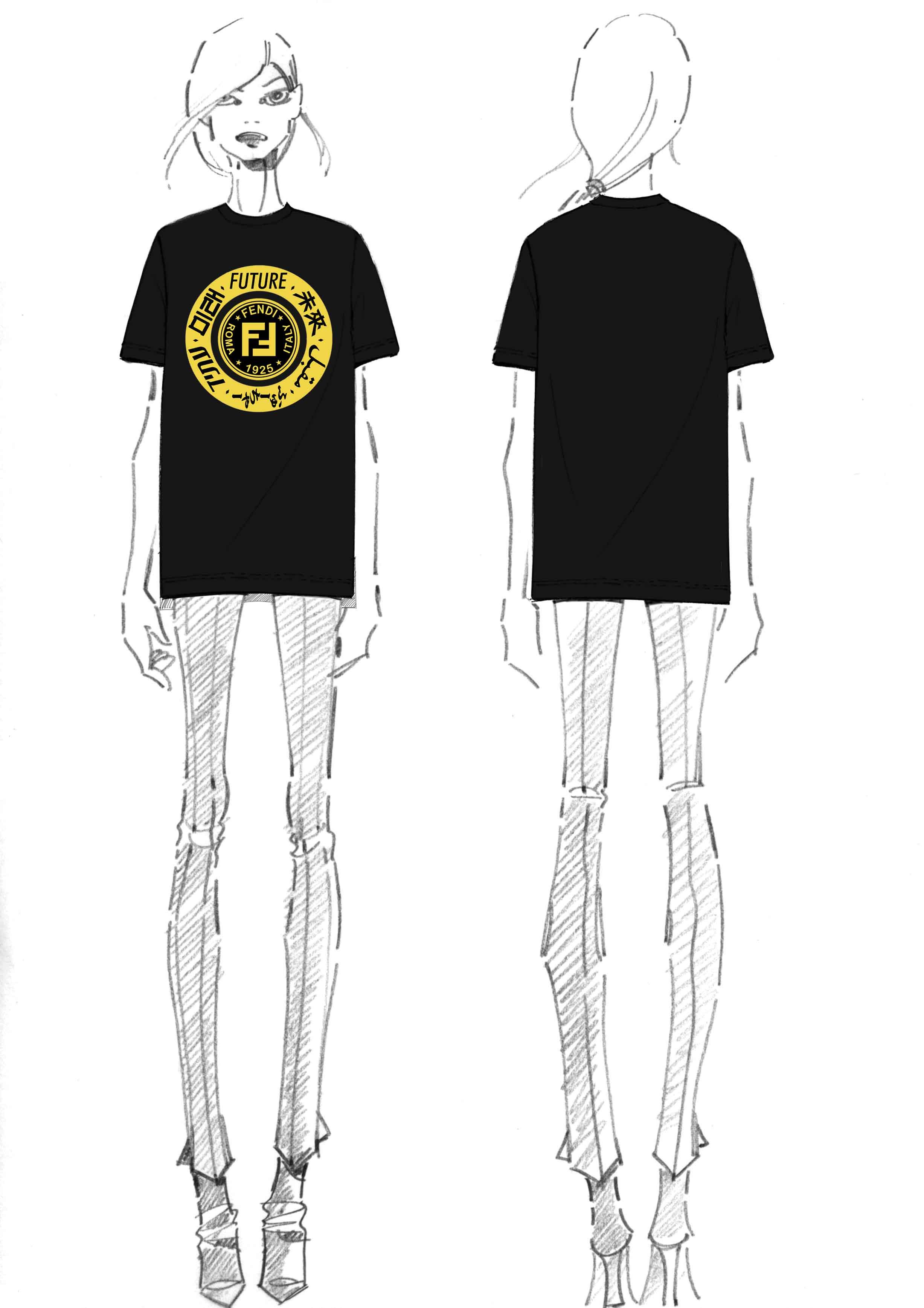 "Tee-shirt Fendi unisexe noir ""The Ring of the Future""."