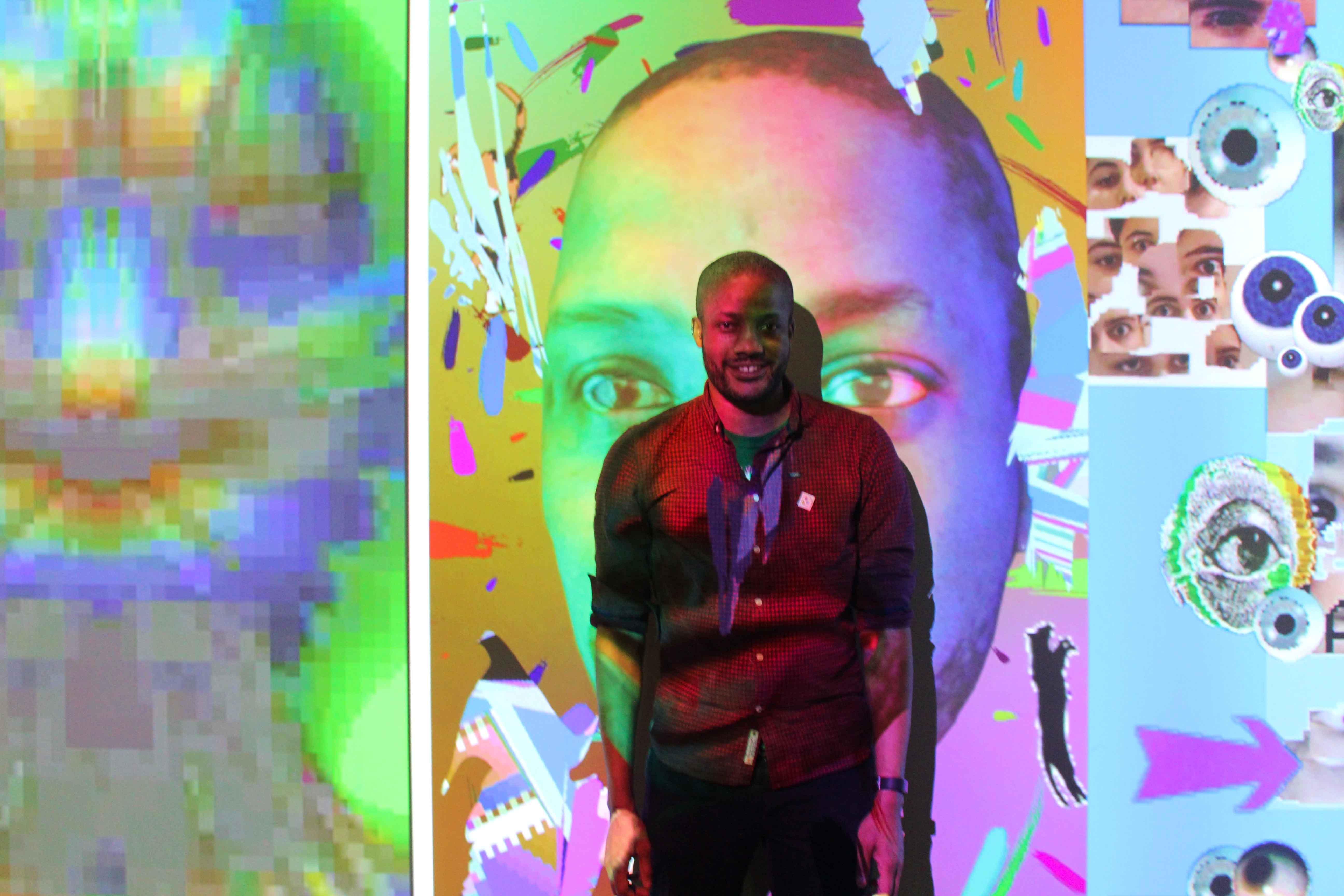 """Basquiat's Brain - Glitch Art Portraits""  à la Barbican Art Gallery de Londres, credit photo Antonio Roberts."
