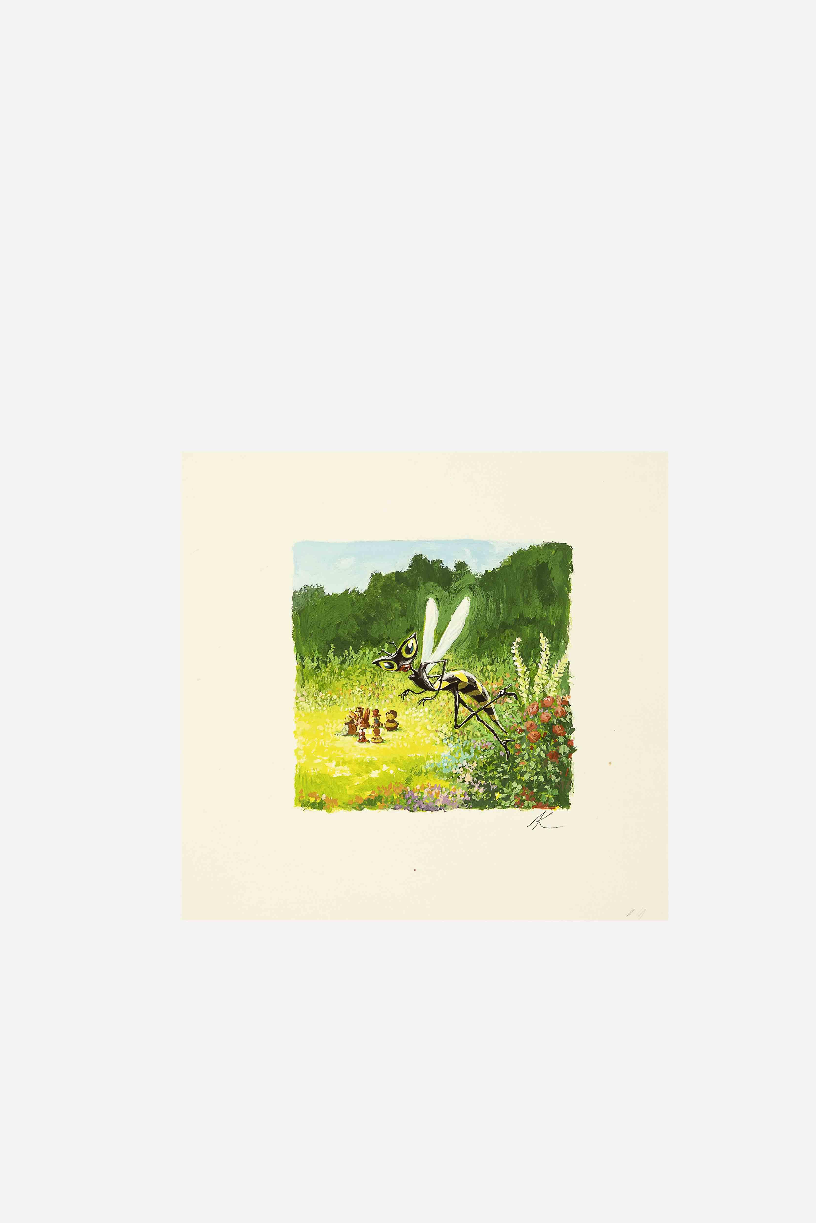 Lot n°4     Dessin « Huguette la Guêpe » de Antoon Krings (né en 1962) Dessin, gouache sur papier, réalisé pour le film d'animation Drôles de petites bêtes de Antoon Krings et Arnaud Bouron (2017).  Signé en bas à droite par Antoon Krings.  Dimensions : 13,5 x 14 cm.   Estimation : 200 – 400 €  ©CNC/Art Richelieu/Drouot