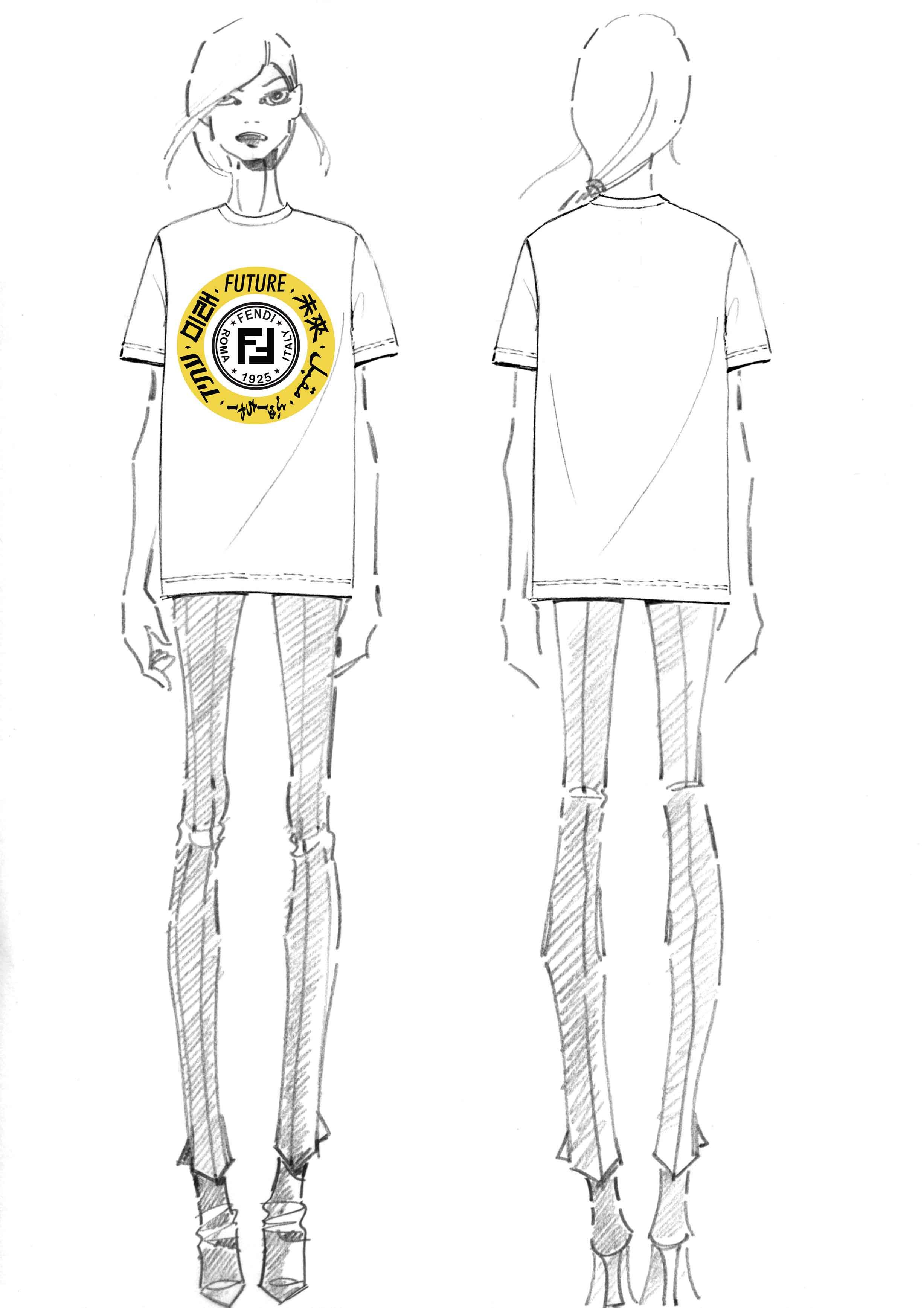 "Tee-shirt Fendi unisexe blanc ""The Ring of the Future""."