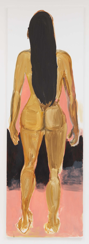 "Marlene Dumas, 2017, Oil on canvas 118 1/8 x 39 3/8 inches 300 x 100 cm. Exposition ""Myths & Mortals"", Galerie David Zwirner, New-York"