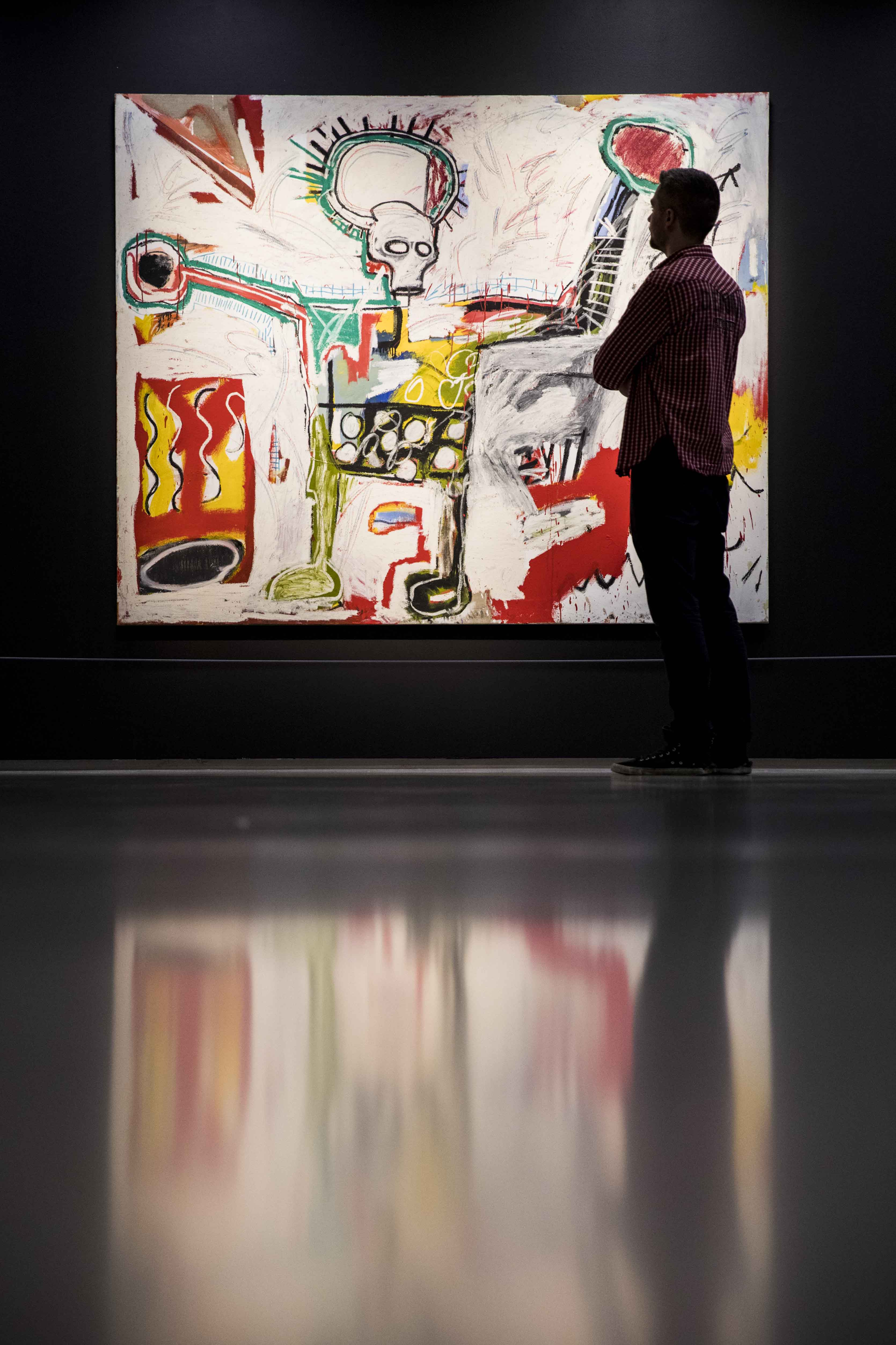 Basquiat: Boom For Real Installation view Barbican Art Gallery 21 September 2017 – 28 January 2018 © Tristan Fewings / Getty Images Artwork: Jean-Michel Basquiat, Untitled, 1982 Courtesy Museum Boijmans Van Beuningen, Rotterdam. © The Estate of Jean-Michel Basquiat. Licensed by Artestar, New York.