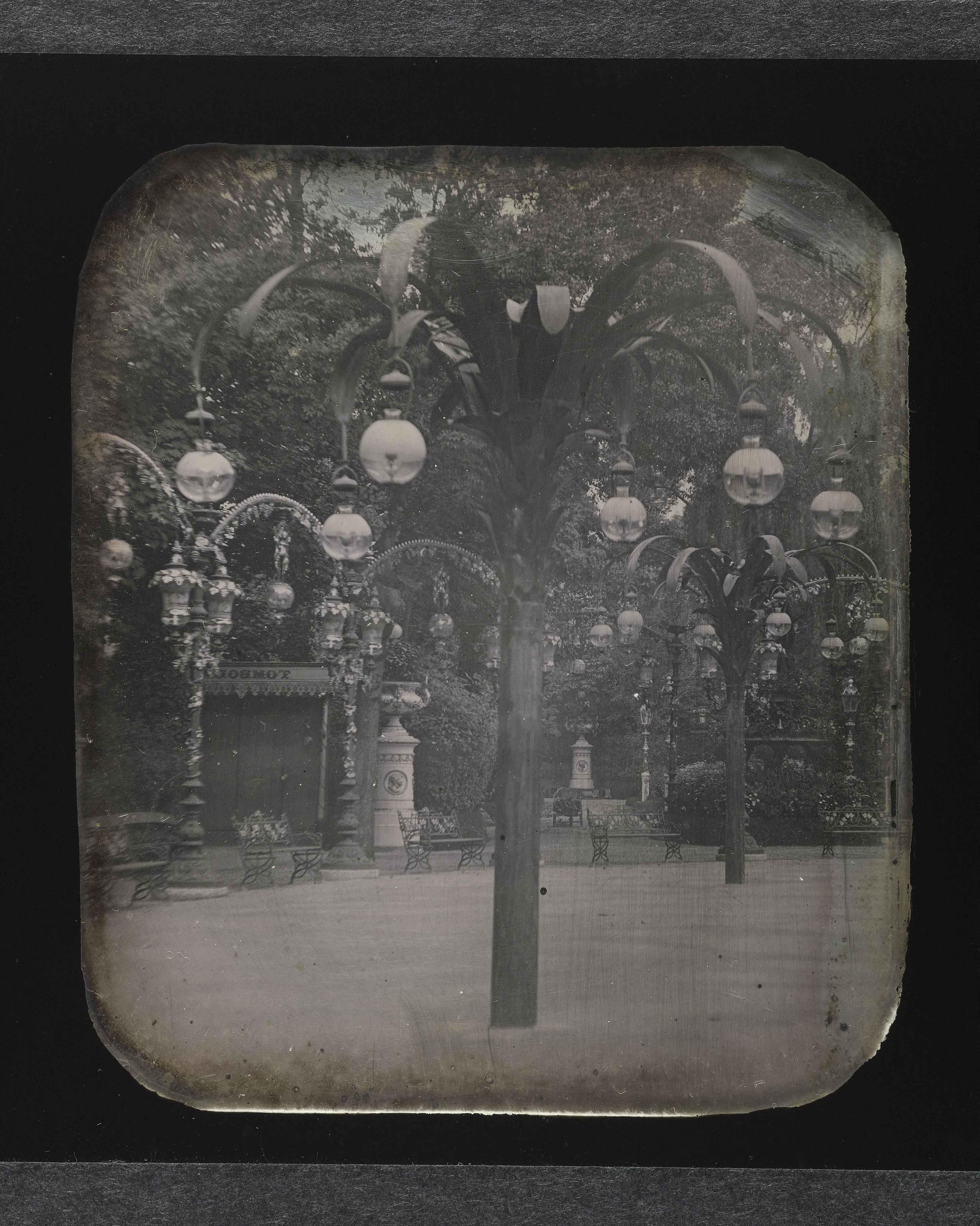 Palmiers en acier du bal MabilleReproduction d'un daguerréotype stéréoscopique, vers 1850 © Carole Rabourdin / Musée Carnavalet / Roger-Viollet