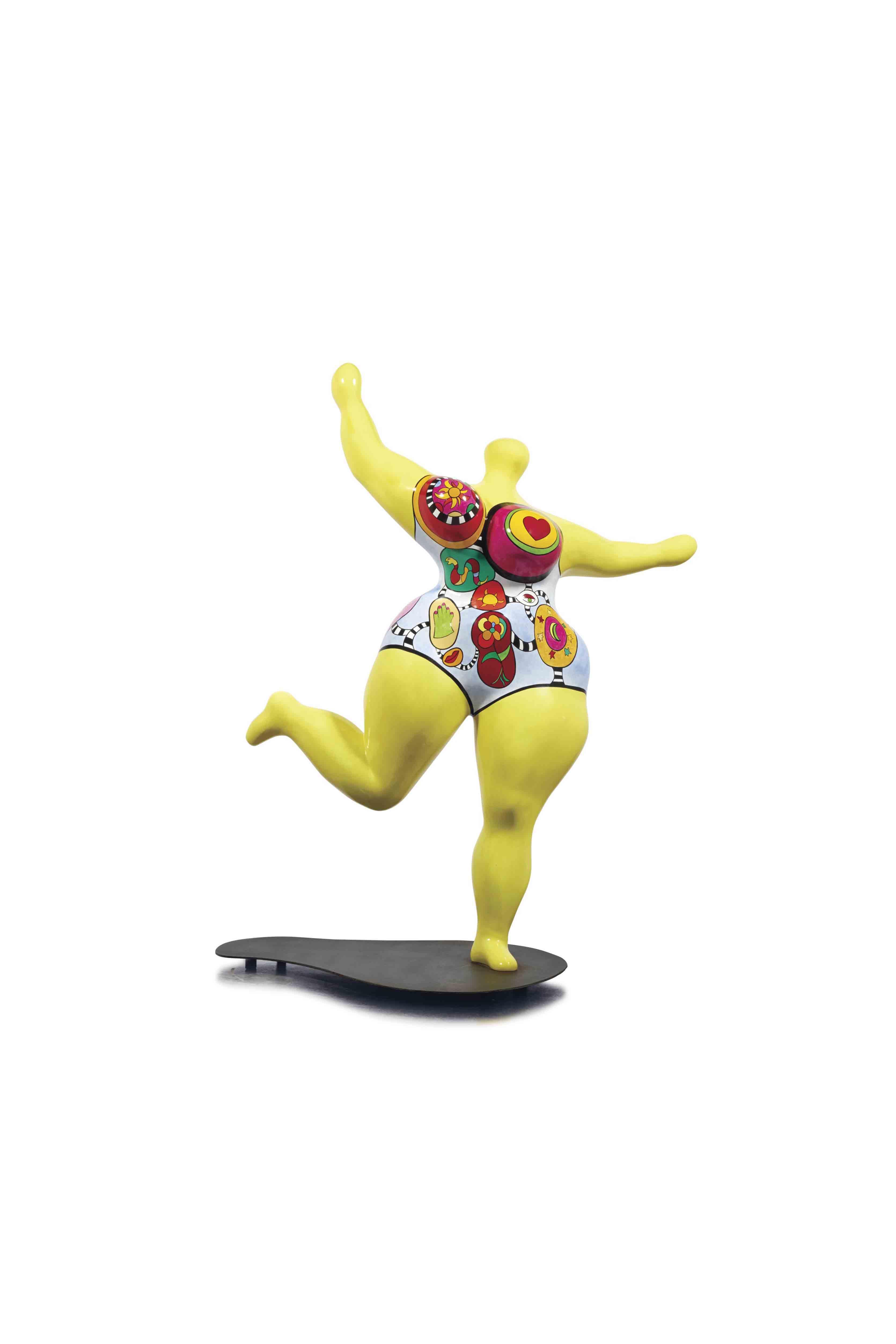 """Lot 47. Niki de Saint Phalle (1930 - 2002), """"Dawn (jaune)"""", signé et daté 'Niki de Saint Phalle 95' (à l'arrière de la jambre droite); numéroté et avec le cachet de l'éditeur 'Gérard Résines d'art Haligon 2/5' (à l'arrière du pied gauche), résine polyester peinte avec base: 140.3 x 115 x 61 cm. Réalisée en 1995, cette œuvre porte le numéro deux d'une édition de cinq exemplaires. Estimate EUR 200,000 - EUR 300,000 (USD 235,026 - USD 352,539)."""