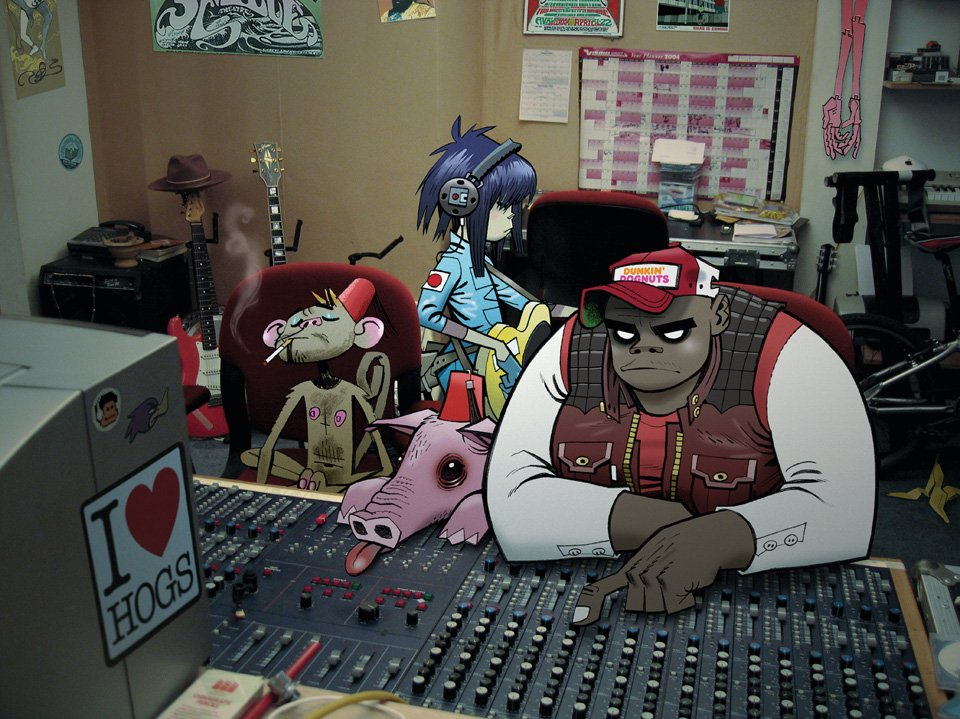 Page 112 Gorillaz: Russel and Noodle at the old studio 13, 2005, © Jamie Hewlett