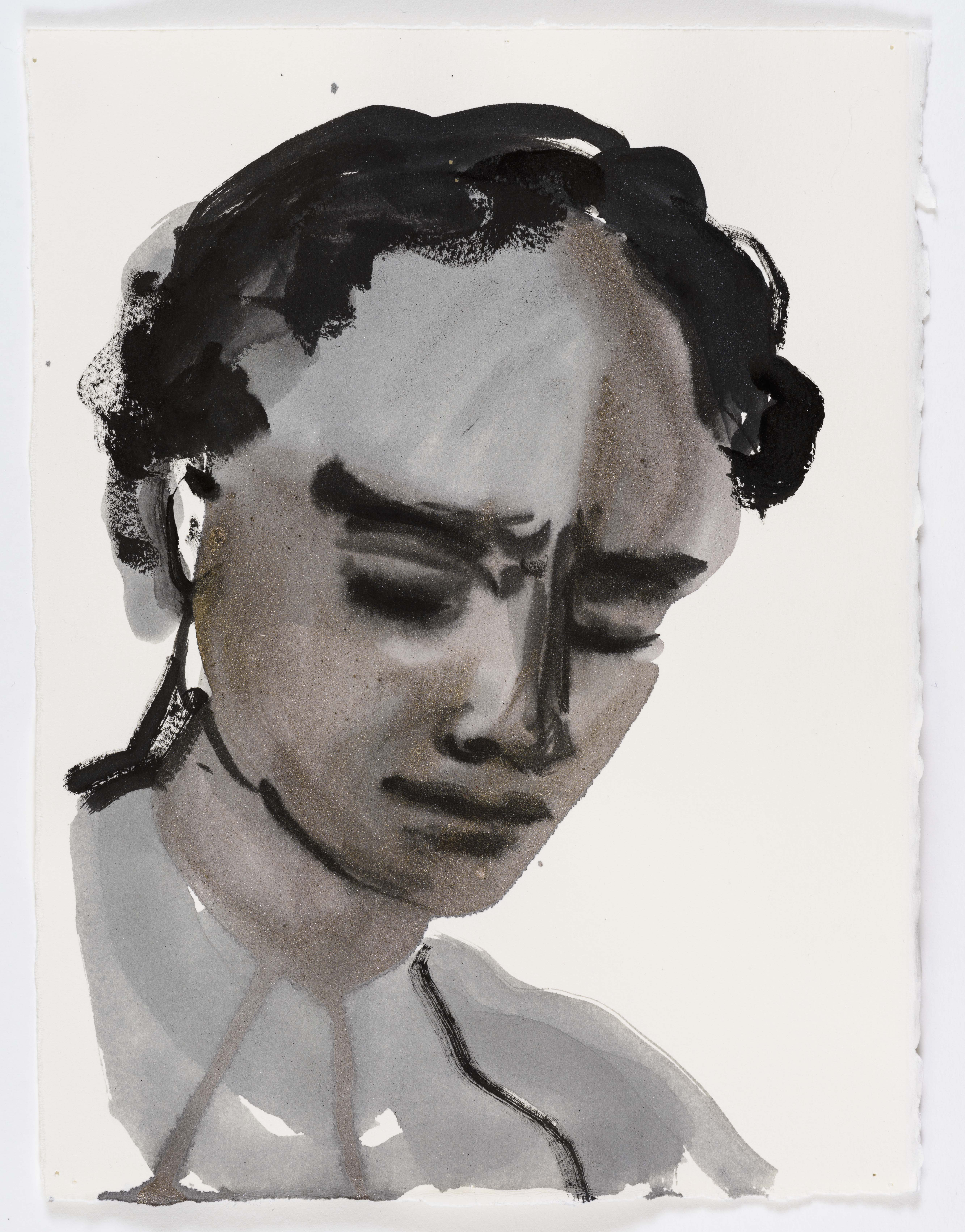 """Marlene Dumas, """"Adonis blushes"""", 2015-2016, Ink wash and metallic acrylic on paper 11 1/2 x 8 5/8 inches 29.2 x 21.9 cm. Exposition """"Myths & Mortals"""", Galerie David Zwirner, New-York"""