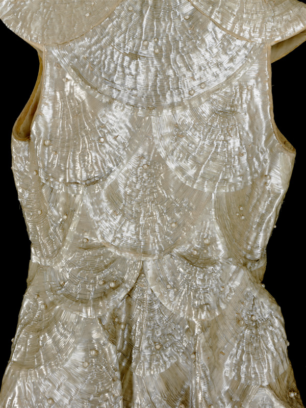 Cellulose acetate evening coat (detail), designed by Alix, Paris, 1936 © Victoria and Albert Museum, London