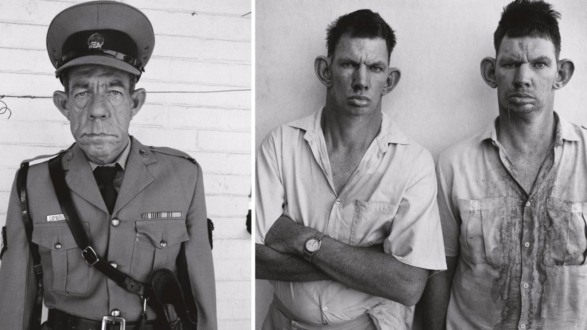 Roger Ballen, Sergeant F. de Bruin,  Department of Prisons Employee,  Orange Free State, 1992 ; Dresie and Casie, Twins, Western Transvaal, 1993. Images publiées avec l'aimable autorisation de l'artiste.