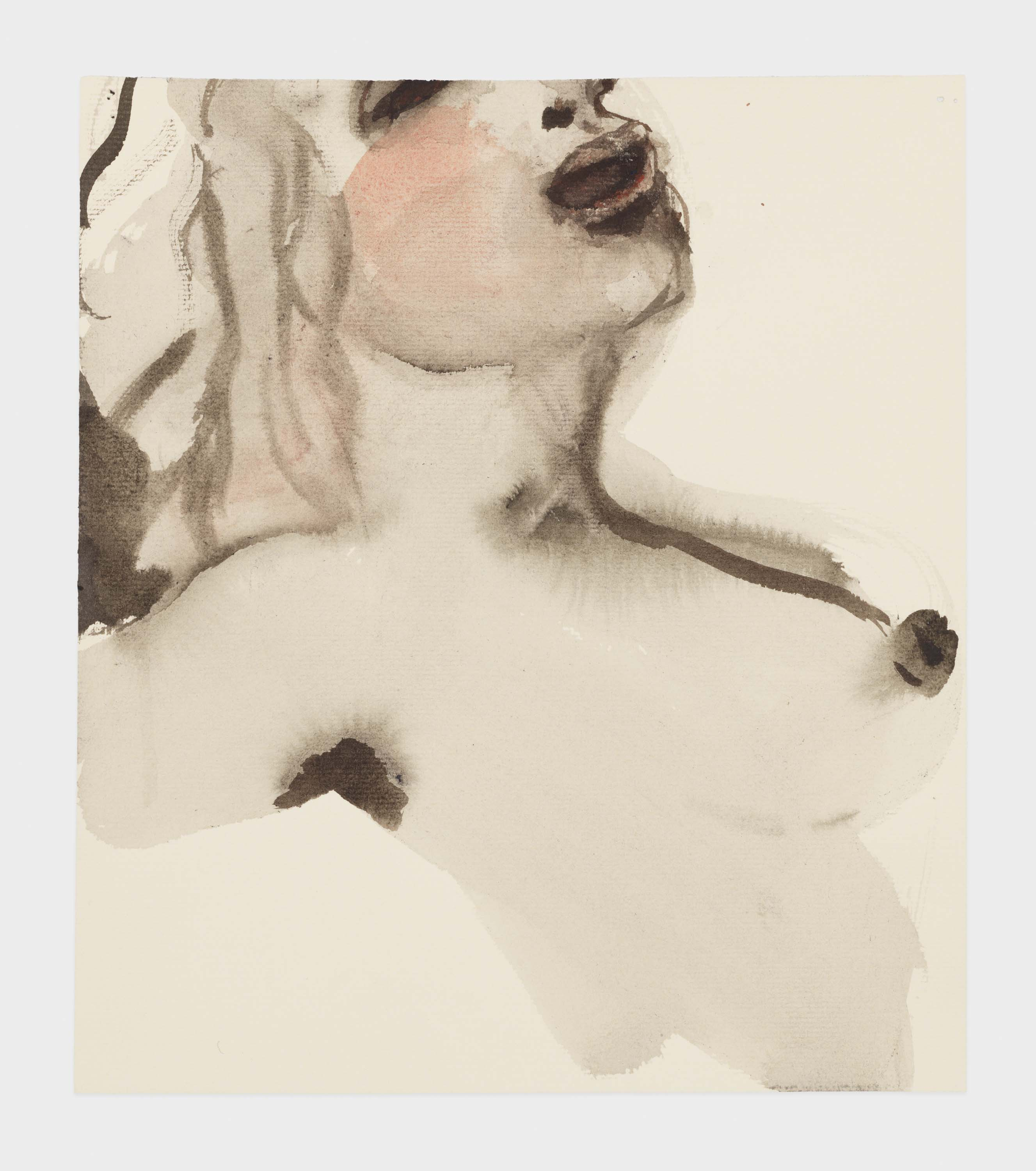 """Marlene Dumas, """"Venus in bliss"""", 2015-2016, Ink wash and metallic acrylic on paper 10 1/4 x 9 inches 26 x 22.9 cm. Exposition """"Myths & Mortals"""", Galerie David Zwirner, New-York"""