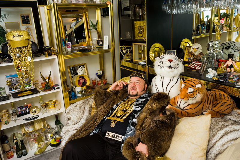 Short caption: Limo Bob in his office, Chicago, 2008. © 2017 Lauren Greenfield (page 160, lower image) Extended caption: Limo Bob in his office, Chicago, 2008. Bob owns a 100-foot limo that made the Guinness Book of World Records for being the world's longest limousine. Photograph and text © 2017 Lauren Greenfield (page 160, lower image)