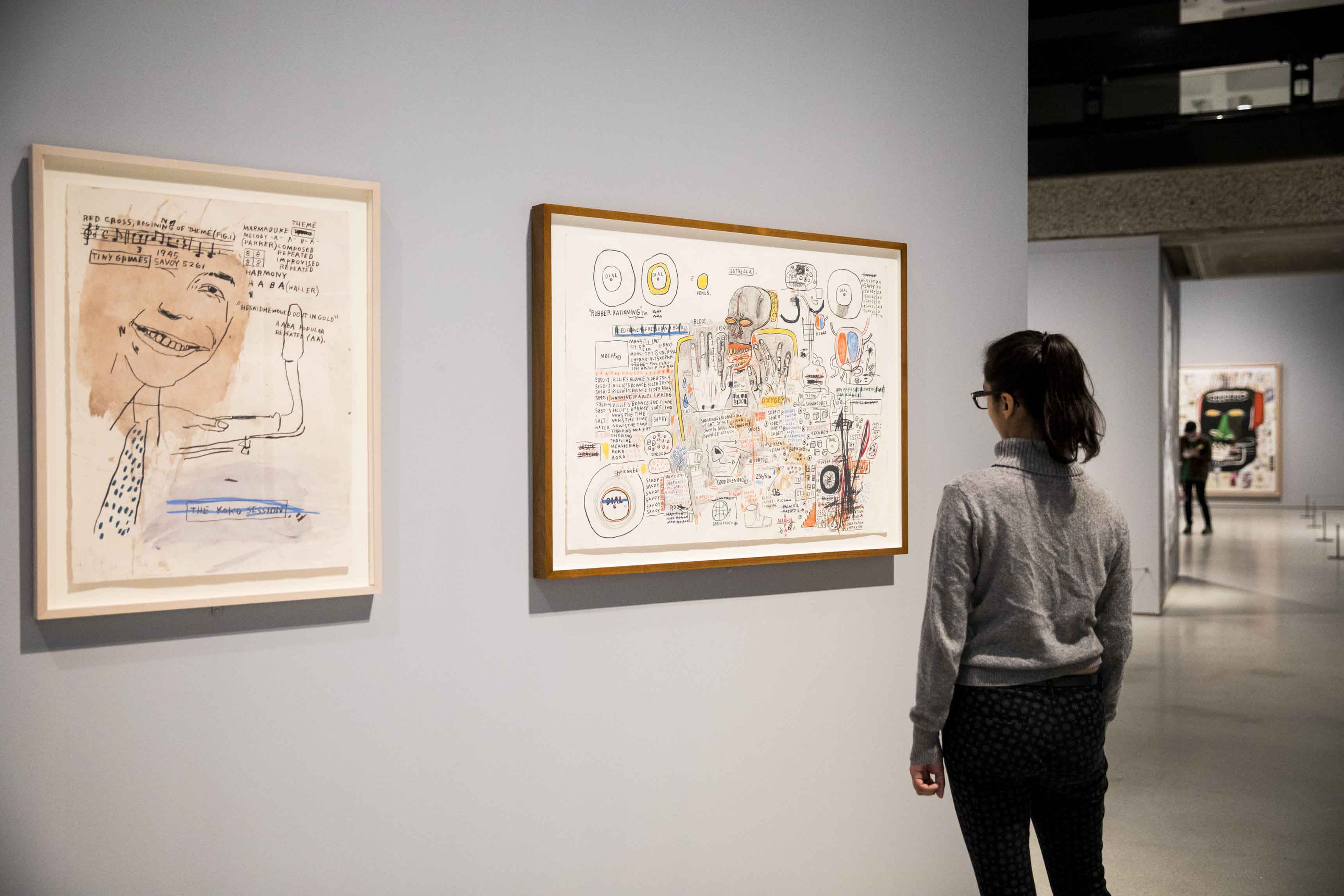 Basquiat: Boom For Real Installation view Barbican Art Gallery 21 September 2017 – 28 January 2018 © Tristan Fewings / Getty Images Artworks: © The Estate of Jean-Michel Basquiat. Licensed by Artestar, New York