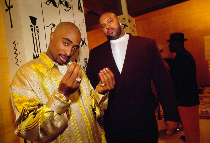Influential rapper Tupac Shakur, 24, and Suge Knight, 30, co-founder and CEO of Death Row Records, Las Vegas, 1995. The month before, Knight, a Godfather-like rap kingmaker, had posted bail to release Tupac from jail in exchange for a three-album deal.