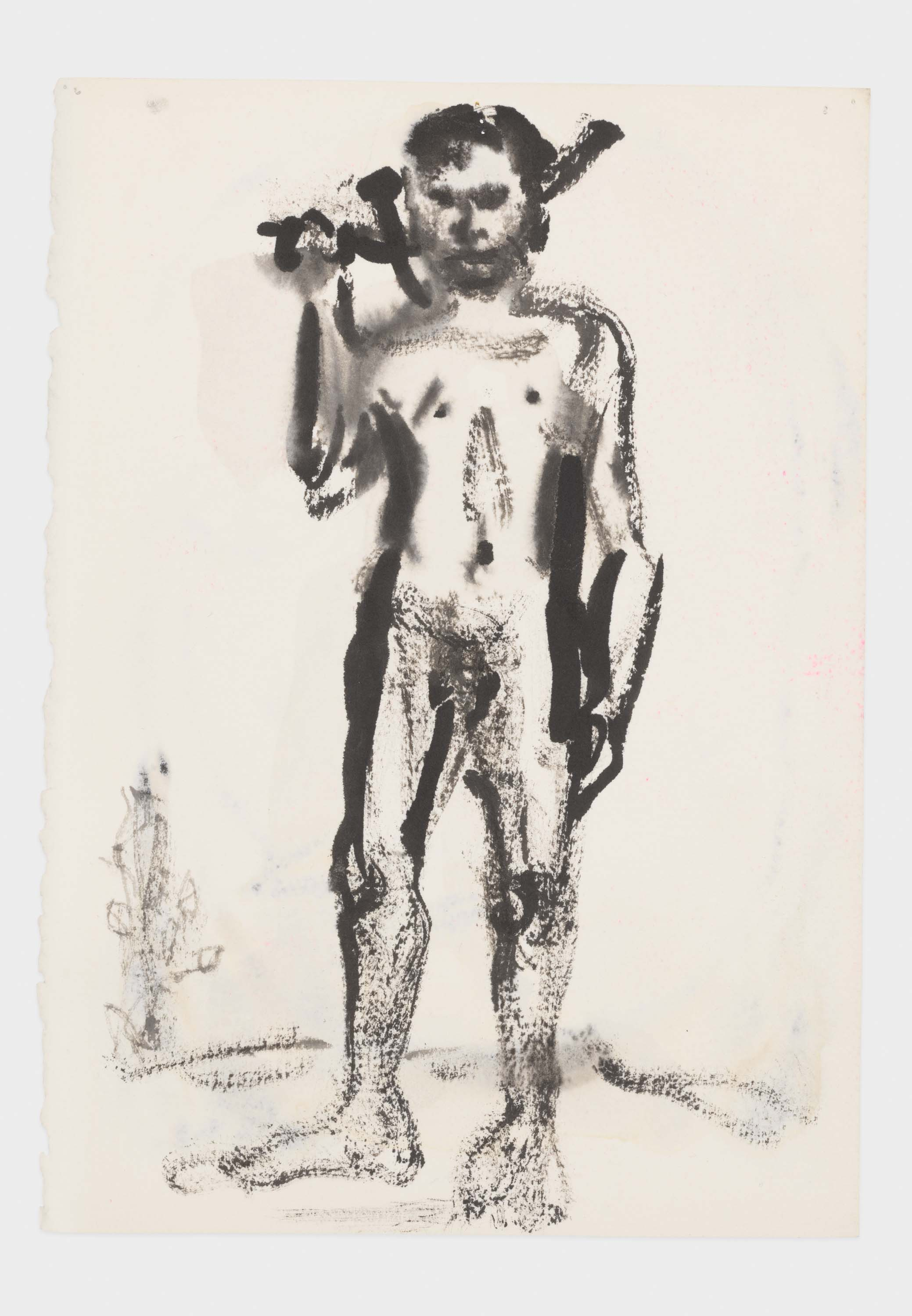 """Marlene Dumas, """"Adonis leaves for the hunt"""", 2015-2016, Ink wash and metallic acrylic on paper 11 1/2 x 8 1/8 inches 29 x 20.5 cm. Exposition """"Myths & Mortals"""", Galerie David Zwirner, New-York"""