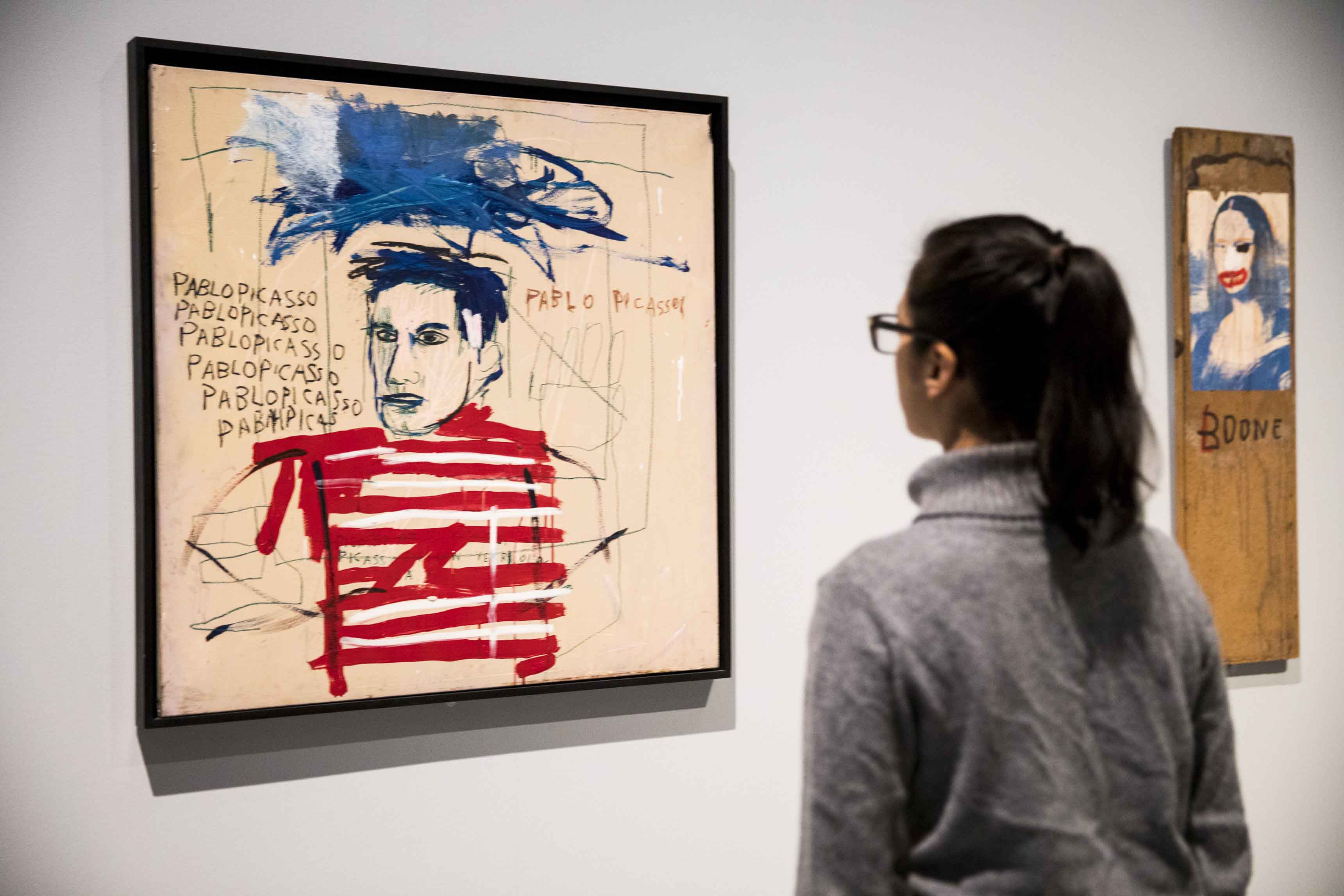 Basquiat: Boom For Real Installation view Barbican Art Gallery 21 September 2017 – 28 January 2018 © Tristan Fewings / Getty Images Artworks: Jean-Michel Basquiat Untitled (Pablo Picasso), 1984 Private collection, Italy. © The Estate of Jean-Michel Basquiat. Licensed by Artestar, New York.