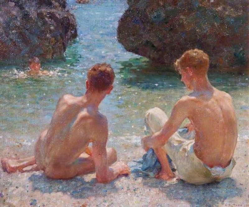"""The Critics"" Henry Scott Tuke (1927). Courtesy of Leamington Spa Art Gallery & Museum (Warwick District Council"