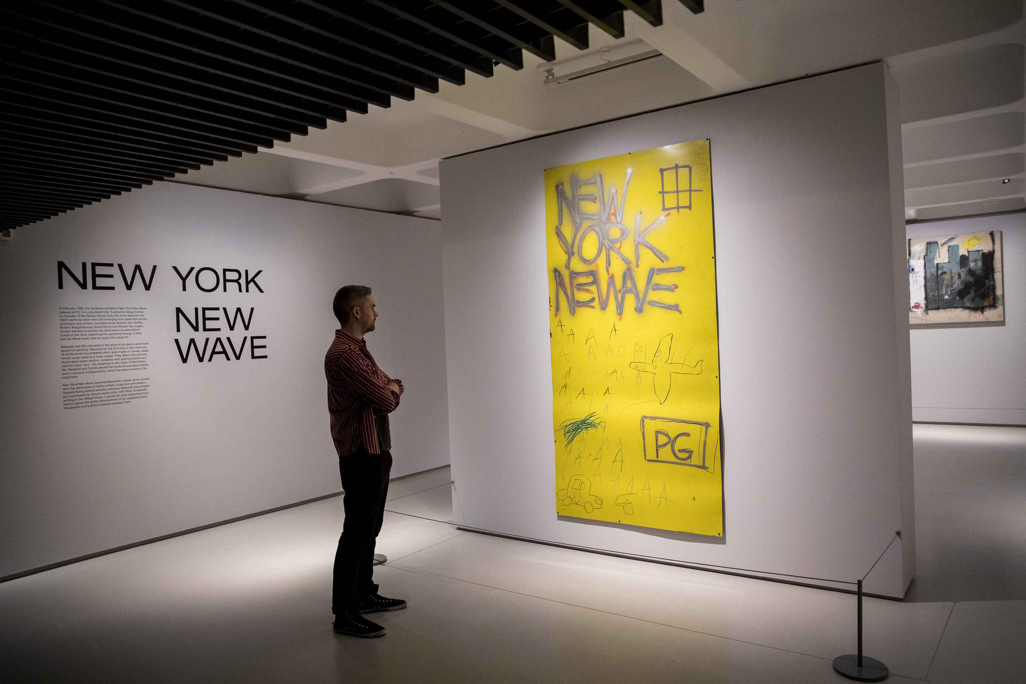 Basquiat: Boom For Real Installation view Barbican Art Gallery 21 September 2017 – 28 January 2018 © Tristan Fewings / Getty Images Artwork: Jean-Michel Basquiat, Untitled, 1980 Courtesy Whitney Museum of American Art, New York. © The Estate of Jean-Michel Basquiat/ Artists Rights Society (ARS), New York/ ADAGP, Paris. Licensed by Artestar, New York.